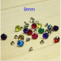 Wholesale mm Colorful Round Faceted Acrylic Rhinestone Rivet Stud Spike With Silver Color Metal Base Colors Set