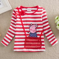 Cheap Cute Peppa Pig Cartoon Embroidery Baby Girls Long Sleeve Cotton T Shirt Striped Baby Kids Tees Tops Free Shipping eck297