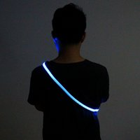 Wholesale LED PU Optical Fiber Conducting Light Belt Black Ribbon Super Bright Fish Silk Web Ribbon Rechargerable Adjustable Buckle