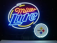Wholesale STEELERS FOOTBALL MILLER LITE neon sign store display beer bar signs Real Neon light quot