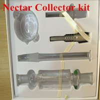 Wholesale Nectar Collectors kits with domeless quartz Nail mm nector collector oil rigs glass bongs water Pipes glass in stock DHL Free to USA