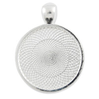 cameo necklace - 20Pcs MM Silver Plated Round Cameo Cabochon Bezel Pendant Blank Base C1650