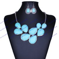 Wholesale Hot Sale Vintage Jewelry Sets Silver Plated Turquoise Statement Chokers Necklaces Water Drop Earrings For Women Lady Gifts
