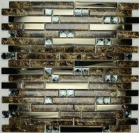 bar building materials - Stainless steel mosaic crystal glass mosaic hotel bar length backdrop tiled building materials