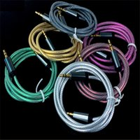 Wholesale 1M Colorful Fabric Braided Car Aux audio Cable for iphone audio cable mm to mm Extended Audio Aux Cable