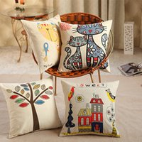Wholesale New Home Decorative Sofa Cushion Cover Throw Pillow Case Vintage Cotton Linen Square Cute Cartoon style cm without core