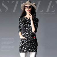 Cheap Women Long Blouse Top S-XXL 2015 New Arrival Spring Fashion Black And White Contrast Color Print Double Pocket Silk Satin Blouse Top