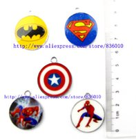 Wholesale Mixed Superhero Batman Spider Man Captain America Circular DIY Metal pendants Charms Jewelry Making Gifts MT9