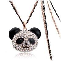 Bijoux de panda Prix-Cadeaux de Noël FG! Plaqué Livraison gratuite de haute qualité 18k mode or strass panda bijoux long collier