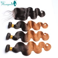Wholesale Middle Part Lace Closure With Bundles Ombre Cambodian Body Wave With Closure Hair Human Hair Weave Wavy