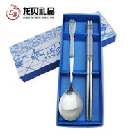Wholesale Stainless steel cutlery sets Features blue applique handicraft gift beautiful and practical to send foreigners abroad Foreign Af