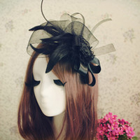 Wholesale Christmas Bows For Sale Cheap - Hot Sale New Feathers Bow Hair Accessories Black White Fashion Bridal Hats For Wedding Party Christmas Face Veils Cheap 2016