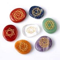 healing stones - 7 piece Engraved chakra stone palm stones crystal reiki healing free velvet pouch EN0001SY