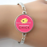 art chicks - Silver plated Bird Bangle Glass Dome Photo Photography Chick Bracelet For Photographers Pink and Yellow Art Pendant Women GL006