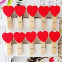 Wholesale Red Heart Wooden Clip Mini Bag Clip Paper Clip wood pegs fashion special gift