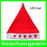 Wholesale Christmas Hat Santa Caps MERRY CHRISTMAS SANTA CLAUS HAT CAP Red with LED mix styles for Xmas