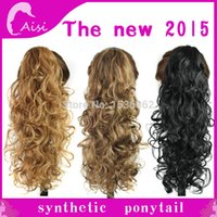 Wholesale long spiral curly ponytail clip in hair extensions colors to choose high temperature fiber Claw Clip in Hair