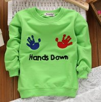 age sweatshirts - New Autumn Children s Clothing T Shirt Boys Cartoon Hands Letter Sweatshirt Color Boys Clothes Aged Years