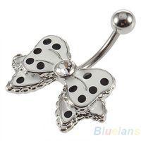 Wholesale Cute Bow with Polka Dots No Dangle Belly Ring Bar Navel Ring IR