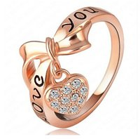 Wholesale Love Letter Bow Ring - 2015 New Fashion Classic LOVE Letter LOVE YOU bow ring jewelry inlaid with crystal lovely jewelry XY-R343