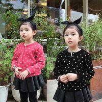 Cheap 2015 Fashion Baby Girls Coat Kids Spring 2 Color Polka Dot Sweater Knit Cardigan Jacket Children Clothing Long Sleeve Coat FS-GD542