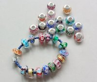 murano glass - DIY jewelry logo stamped thread core murano glass beads mix lampwork glass beads big hole Murano Charm Bead For Bracelets Necklace