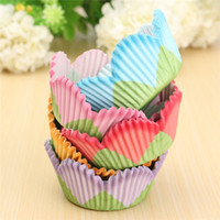 Wholesale 50pcs Cupcake Cup Petal Baking Cups Cupcake Liners Cases Paper Muffin Kitchen Small Cake Cases For Party Wedding x5x3cm