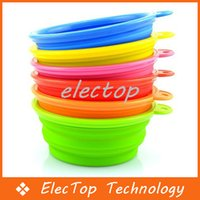 Wholesale Pet Dog Portable Bowl Silicone Collapsible Feeding Water Feeder Travel Bowl Dish Color Available