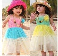 Cheap c Korean version of summer children's clothing wholesale children dress girls long section of beach dress mixed colors Rainbow Dress QZ56