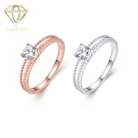 alloy cushion cut - Cushion Cut Engagement Rings Fashion Simple Rose White Gold Plated with AAA Cubic Zirconia Ring Jewelry for Women