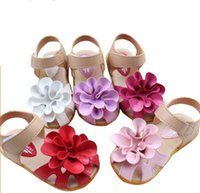 pu shoes - Hot Sale New Sandals Children Kids Girls PU Leather Cowhells Bottom sandals Big Flower Girl Lovely Summer Shoes Size Colors