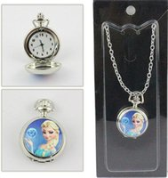 Wholesale Cute Pocket Watch Necklace - 2016 Frozen New Arrival pocket watch necklace woman girl lady children fashion blue two cute cartoon sister