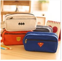 Wholesale FG4114pcs Korean models League series double zipper pencil cute canvas Pencil large capacity pencil case
