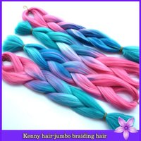 Wholesale pc inch g Ombre pink to blue kanekalon jumbo braiding hair synthetic weave xpression braiding hair weft