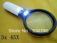 Wholesale Large x X Handheld Magnifying glass Lens magnifier LED lights Jewelry Loupe mm MM NEW order lt no track