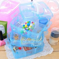 Wholesale New Transparent Plasitc Jewelry Makeup DIY Home Organizer Boxes Protable Travel Cosmetic Storage Case AF0073