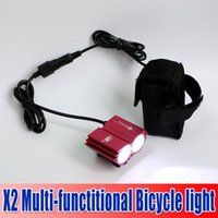Wholesale Factory price Bicycle X2 LED Light CREE XM L U2 LED Modes Dual Head Bicycle light LED bike front light headlight Cycling Light waitingyou