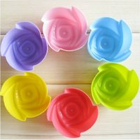 Cheap 7CM Mix Multicolor Rose Silicone Cake Mold Muffin Cups Mold for Pudding Chocolate Jelly Handmade Soap Chocolate