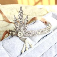 Cheap Hot Great Gatsby Vintage Headbands Hair Bands Headpieces Bridal Wedding Jewelries Accessories Silver Crystals Rhinestone Pearls CPA237