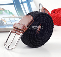 Wholesale Soild Black Elastic Woven Belt For Men Women New Plus Length Stretch Belt Longest Belt Unisex Elastic Belt Canvas cm