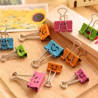 Wholesale 10 Pc Random Color mm Smile Metal Binder Clips For Home Office School File Paper Organizer Craft Scrapbooking Tools