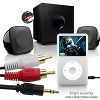 Wholesale 16FT M mm Male Jack to AV RCA Stereo Audio Cable For MP3 VCD DVD Player