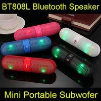 usb speaker - 2015 newest BT808L Bluetooth speaker LED flashing Mini wireless portable subwofer TF card FM for sport outdoors smart phones universal