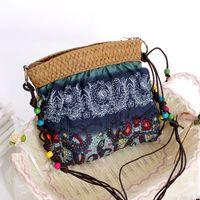 cheap beach bag - Fashion cheap bohemia straw bag candy color woven women s handbag rustic beach bags vintage cross body small messenger bag