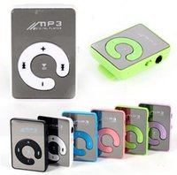 Wholesale New Mini Mirror Clip USB Digital Mp3 Music Player Support TF Card with Earphone USB Cable Retail Box colors