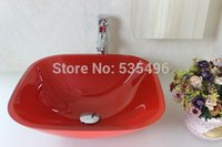 Wholesale Contemporary Red Square Painted Tempered Glass Vessel Sink With Faucet Set N