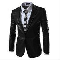 Wholesale 2014 New style fashion mens leather jacket leather blazers men slim fit suit jacket men s clothing