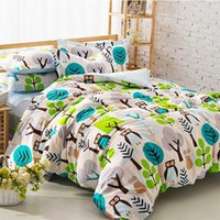 Wholesale Cute cartoon owl bedding sets teenage kid full queen cotton european trend home textile flat sheets pillow case duvet cover