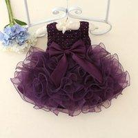 Cheap 2015 baby girls sleeveless lace cake dress children toddler princess dress for baby 1 year birthday kids girl baptism dresses