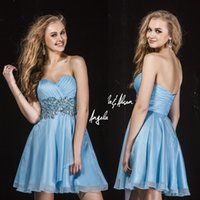 bare heart - Mini Homecoming Short Prom Dresses Graduation Gown Cocktail With Sweet heart Bare Back Blue Chiffon Beads Crystals Sweet